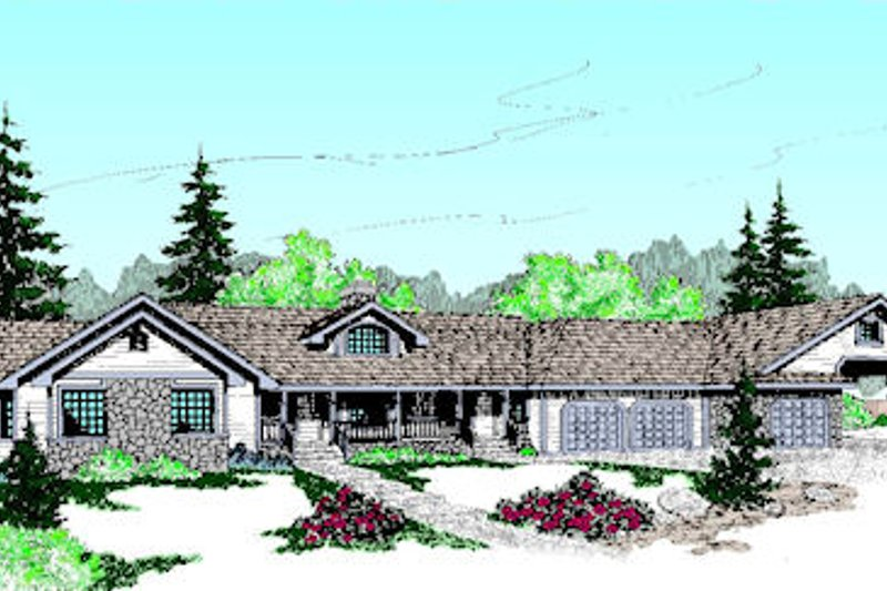 Ranch Exterior - Front Elevation Plan #60-205 - Houseplans.com