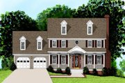 Colonial Style House Plan - 4 Beds 2.5 Baths 1998 Sq/Ft Plan #56-146 Exterior - Front Elevation