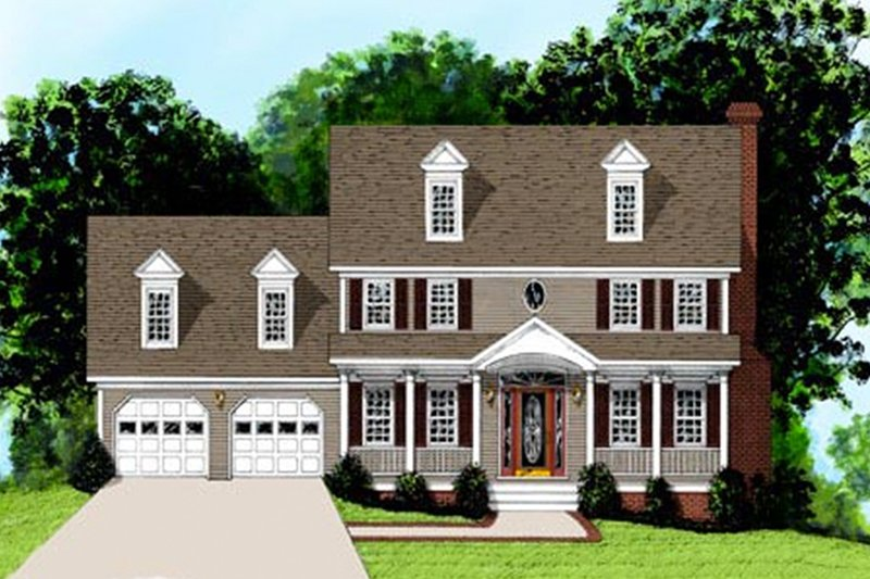 Colonial Exterior - Front Elevation Plan #56-146