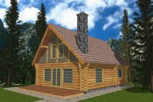 House Design - Log Exterior - Front Elevation Plan #117-124