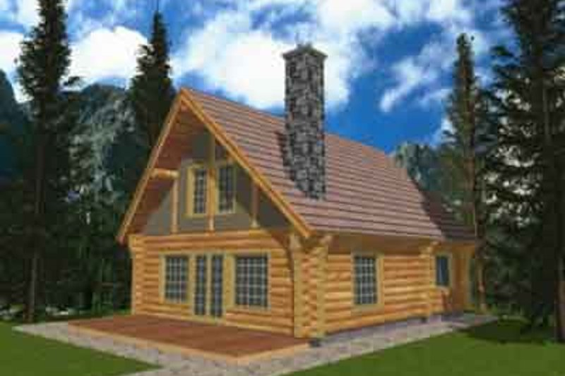 Log Style House Plan - 1 Beds 1 Baths 1040 Sq/Ft Plan #117-124 Exterior - Front Elevation