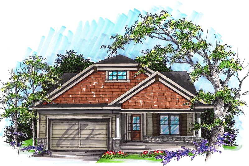 Ranch Exterior - Front Elevation Plan #70-1026