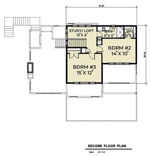 Contemporary Floor Plan - Upper Floor Plan Plan #1070-45