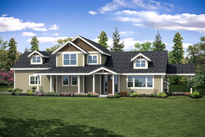 Architectural House Design - Country Exterior - Front Elevation Plan #124-1090