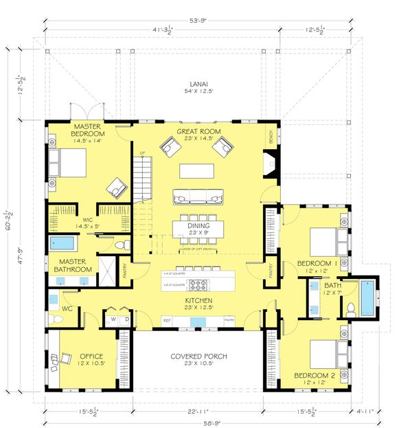 House Plan Design - Farmhouse style plan 888-13 main floor plan