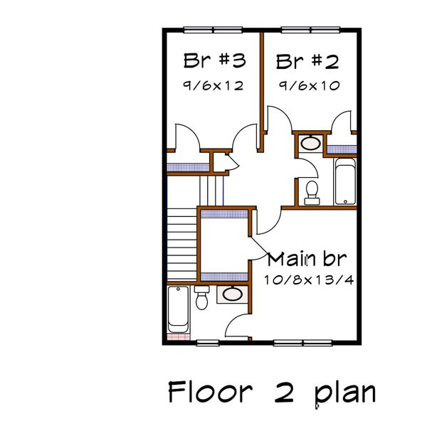 Farmhouse Floor Plan - Upper Floor Plan #79-257