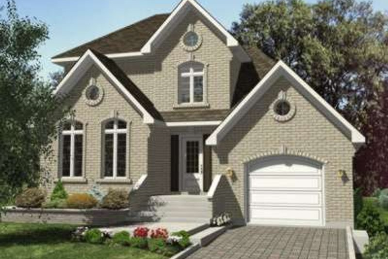 European Style House Plan - 3 Beds 1.5 Baths 1390 Sq/Ft Plan #138-133 Exterior - Front Elevation