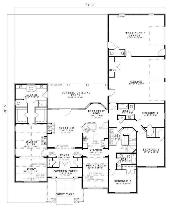 Dream House Plan - European Floor Plan - Main Floor Plan #17-209