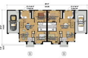 Contemporary Style House Plan - 4 Beds 2 Baths 1840 Sq/Ft Plan #25-4521 Floor Plan - Main Floor Plan