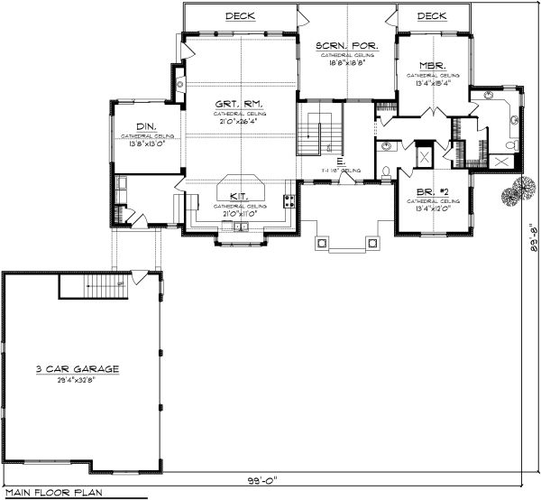 Ranch Floor Plan - Main Floor Plan Plan #70-1137