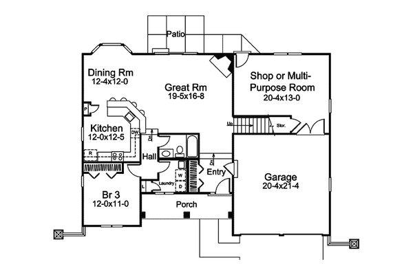European Floor Plan - Main Floor Plan Plan #57-676