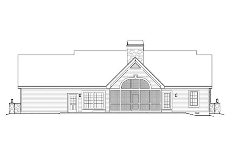 Country Exterior - Rear Elevation Plan #57-342 - Houseplans.com