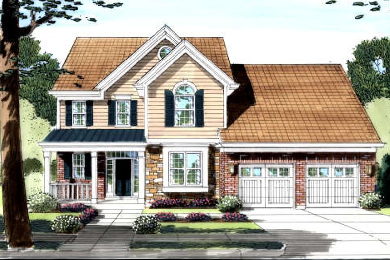 Colonial Style House Plan - 3 Beds 2.5 Baths 2454 Sq/Ft Plan #46-424 Exterior - Front Elevation