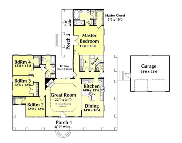 Architectural House Design - Country Floor Plan - Main Floor Plan #44-174
