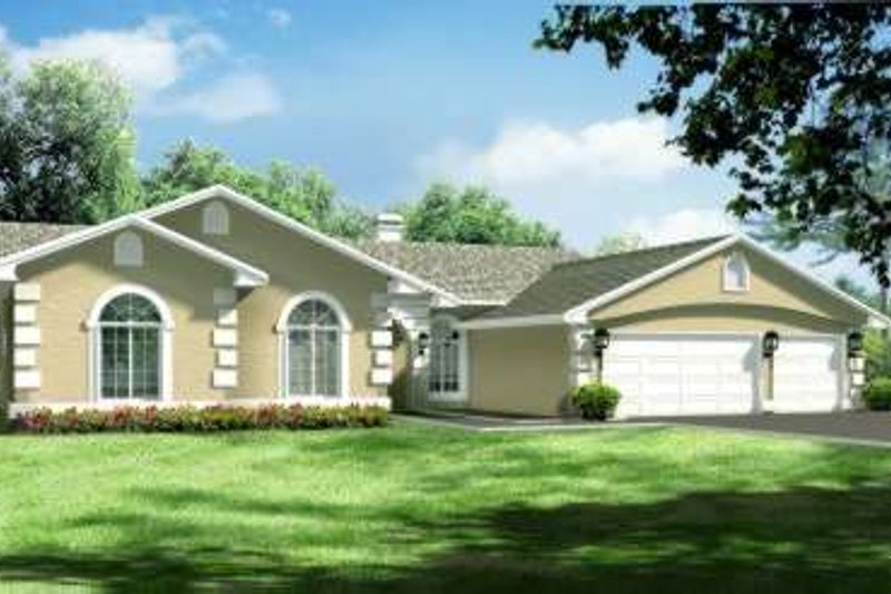 Ranch Style House Plan - 4 Beds 2.5 Baths 2603 Sq/Ft Plan #1-630 Exterior - Front Elevation