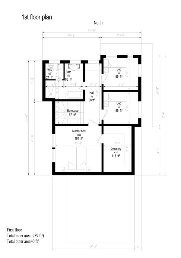 Modern Style House Plan - 3 Beds 1 Baths 2060 Sq/Ft Plan #549-13 Floor Plan - Upper Floor Plan
