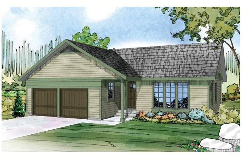 Ranch Style House Plan - 3 Beds 2 Baths 1298 Sq/Ft Plan #124-918 Exterior - Front Elevation
