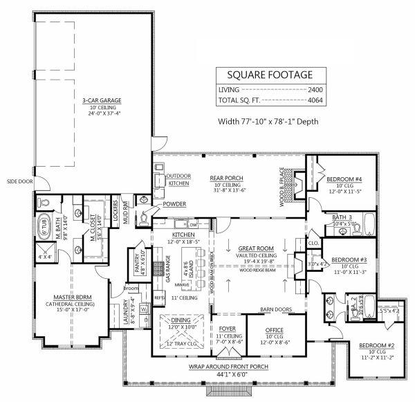Dream House Plan - Farmhouse Floor Plan - Main Floor Plan #1074-24