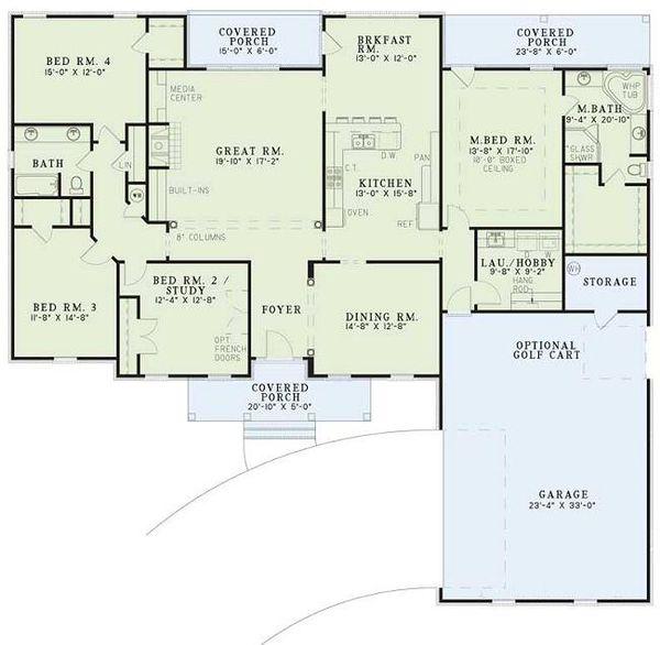 Southern Floor Plan - Main Floor Plan Plan #17-120