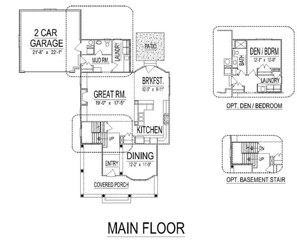 Craftsman Floor Plan - Main Floor Plan Plan #458-11