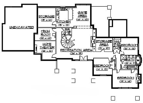 Craftsman Floor Plan - Lower Floor Plan Plan #5-330