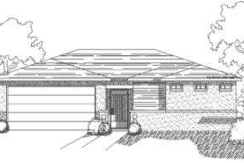 Adobe / Southwestern Style House Plan - 4 Beds 2 Baths 1600 Sq/Ft Plan #24-196 Exterior - Front Elevation