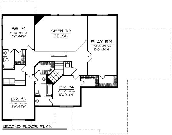 Craftsman Floor Plan - Upper Floor Plan Plan #70-1289
