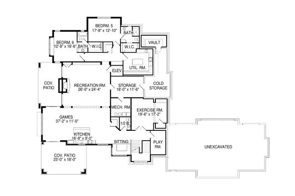 Craftsman Floor Plan - Lower Floor Plan Plan #920-42