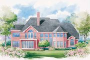 European Style House Plan - 4 Beds 3.5 Baths 3863 Sq/Ft Plan #20-1173 Exterior - Rear Elevation