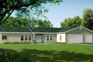 Ranch Exterior - Front Elevation Plan #1-1444