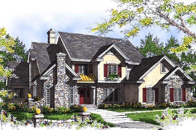 European Style House Plan - 4 Beds 3.5 Baths 3794 Sq/Ft Plan #70-546 Exterior - Front Elevation