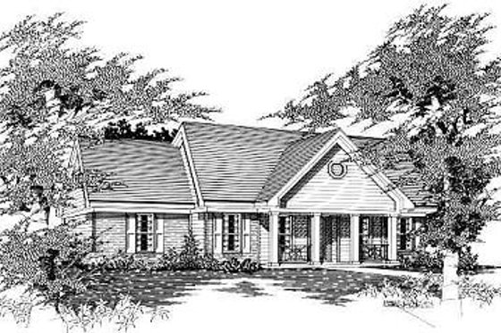 Ranch Exterior - Front Elevation Plan #329-171