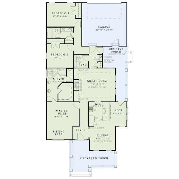 Bungalow Floor Plan - Main Floor Plan Plan #17-2410