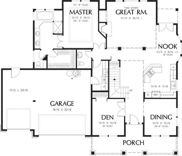 Craftsman Floor Plan - Main Floor Plan Plan #48-180