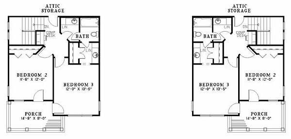 Southern Floor Plan - Upper Floor Plan Plan #17-655