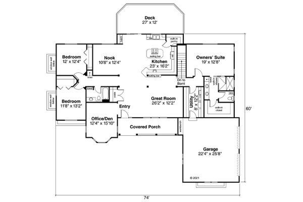 Architectural House Design - Ranch Floor Plan - Main Floor Plan #124-1232