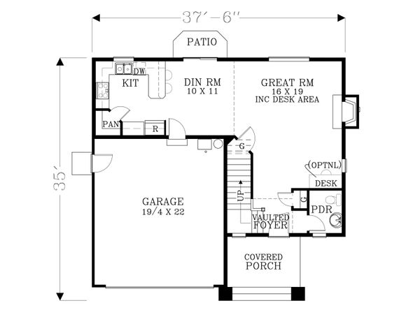 Craftsman Floor Plan - Main Floor Plan Plan #53-525