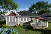 Craftsman Style House Plan - 2 Beds 2 Baths 1334 Sq/Ft Plan #70-1259 Exterior - Rear Elevation