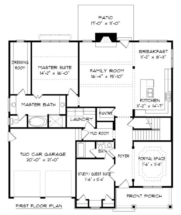 Tudor Floor Plan - Main Floor Plan Plan #413-881