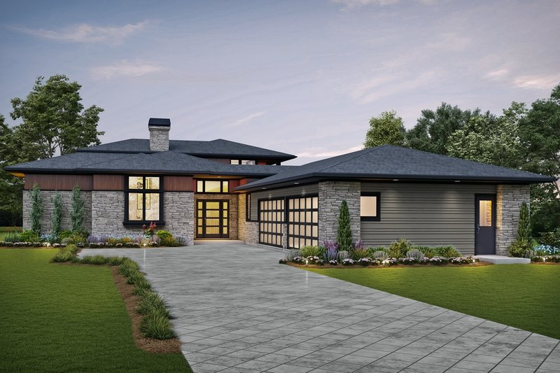 Contemporary Exterior - Front Elevation Plan #48-1004