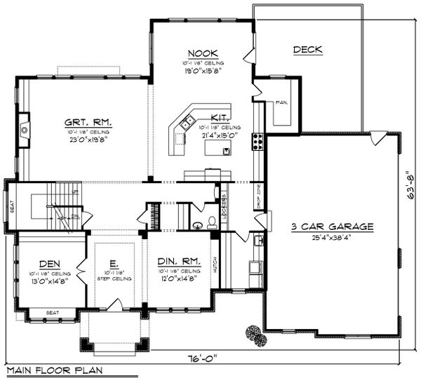 Tudor Floor Plan - Main Floor Plan Plan #70-1205
