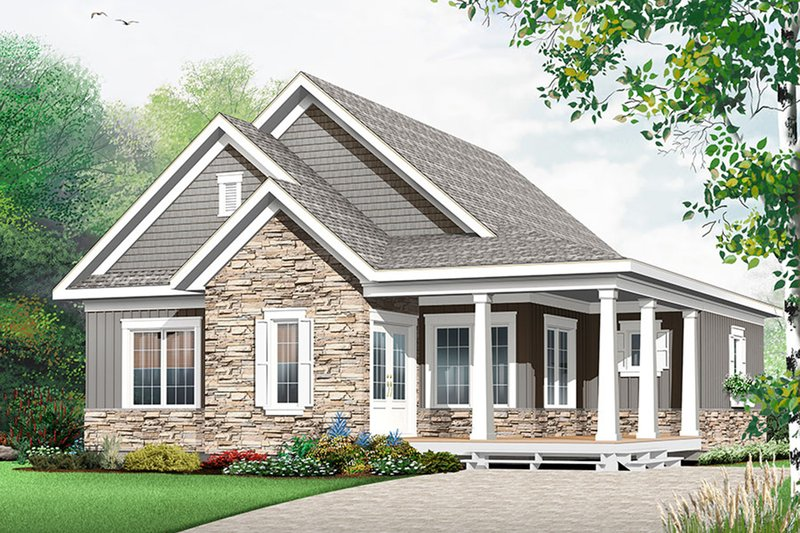 Country Style House Plan - 3 Beds 2 Baths 1847 Sq/Ft Plan #23-2613 Exterior - Front Elevation