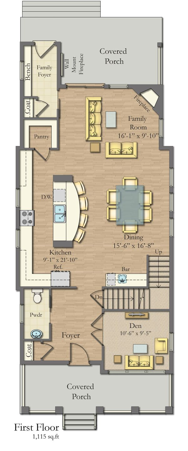 Craftsman Floor Plan - Main Floor Plan Plan #1057-11