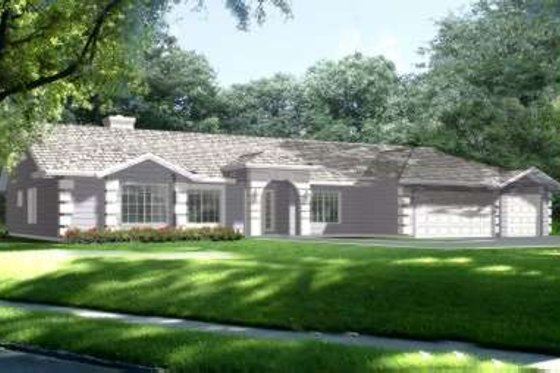 Ranch Exterior - Front Elevation Plan #1-702