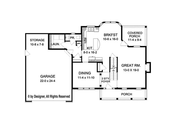 Colonial Floor Plan - Main Floor Plan Plan #1010-210