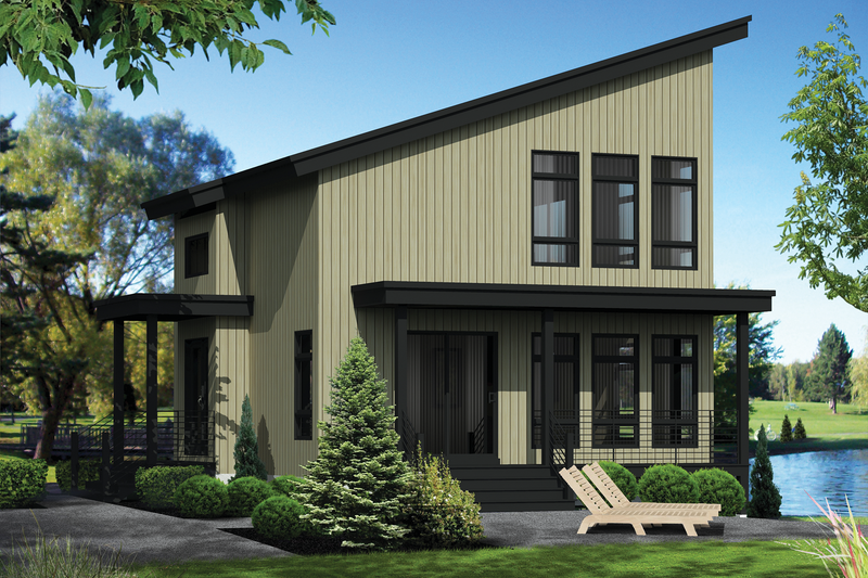 Modern Style House Plan - 2 Beds 2 Baths 1165 Sq/Ft Plan #25-4364 Exterior - Front Elevation