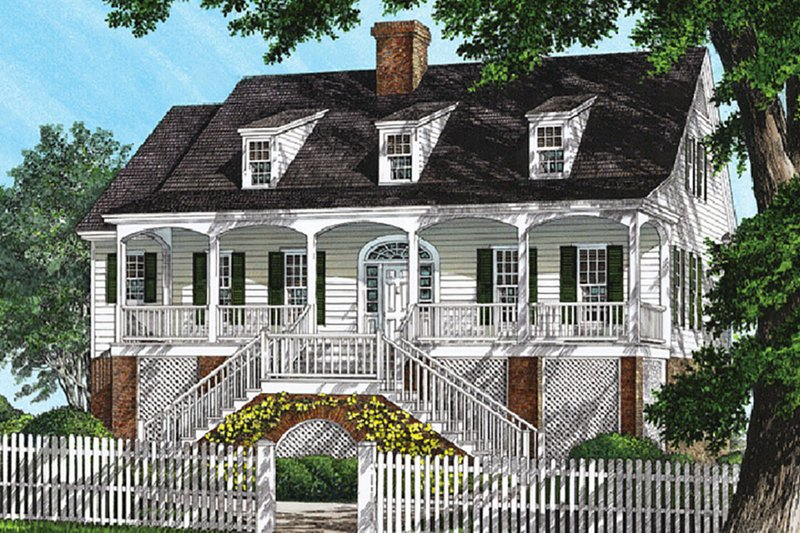 Southern Exterior - Front Elevation Plan #137-237 - Houseplans.com