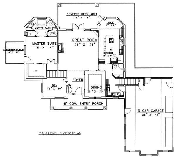 Bungalow Floor Plan - Main Floor Plan Plan #117-569