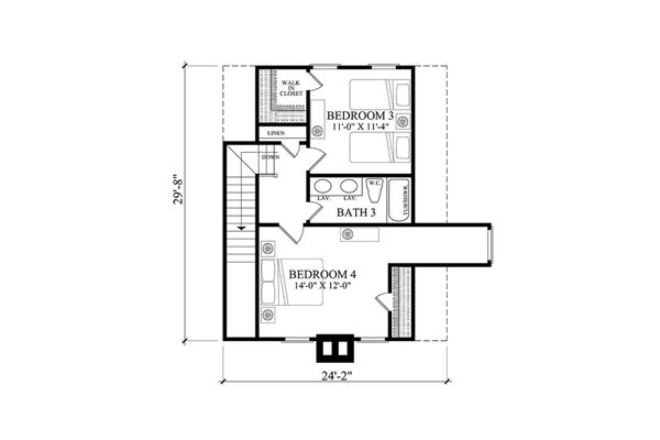 Country Floor Plan - Upper Floor Plan Plan #137-375