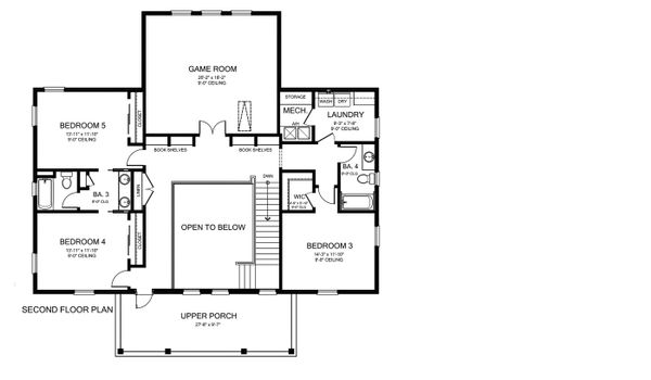 Southern Floor Plan - Upper Floor Plan Plan #1058-178